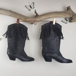 Vintage Dingo womens black fringe western boots